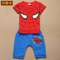 Wholesale Wholesale Brand Clothing Manufacturers - 2015 New Pattern Manufacturers wholesale children's suits Spiderman pattern cotton children clothing two-piece suits hedging A080623