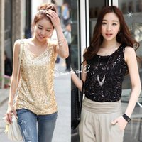 Wholesale Black Sequin Tank Top - Wholesale-Dropshipping Women Summer Tank Top Women's Shining Bling Sequin Tank Top Sleeveless Blouse T-Shirt Black Golden b7