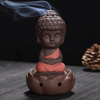 Wholesale Blue Wedding Sand - Little Monk Thurible Decorative Gifts Ceramic Purple Sand Buddha Incense Burner For Home Decor Arts And Crafts 13cy C R
