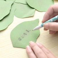 conjunto de papel de nota al por mayor-10 sets Lindo Hoja Verde Bloc de notas Sticky Post Note Paper Sticker Almohadillas hoja suelta nota de papel Envío Gratis Material Escolar