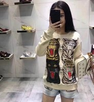 Wholesale Double Sided Sweater - 2017 new four tiger head LOGO sweater long sleeve round neck cat pattern double sided loose type Free shipping