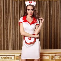 Wholesale Sexy Erotic Nurse - New Erotic Sex Costumes Red+ White Hot Sexy Nurse Uniform Costume Games Cosplay suits for Women Halloween Party Dress EU810