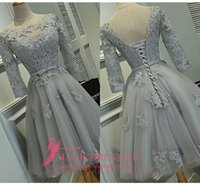 Wholesale Long Sleeve Grey Cocktail Dresses - Real Photos Grey Lace Party Homecoming Bridesmaid Dresses 2016 A-Line Jewel Illusion 3 4Long Sleeve Short Mini Cocktail Prom Gowns Cheap
