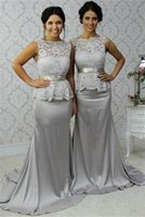 Wholesale Sexy Peplum Bridesmaid Dress - Sexy Long Grey Lace Peplum Bridesmaids Convertible Dresses 2016 Sweep Train Draped Satin Backless Formal Evening Gowns Wedding Guest Gowns