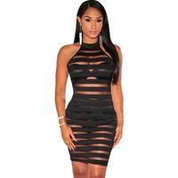Wholesale Mock Neck Dress - FREE SHIPPING 2017 New Fashion Women Black Striped Lined Mock Neck Illusion Bodycon Club Party Dress Vestidos One Size NA22552