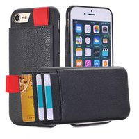 Wholesale Leather Id Holder Wholesales - For iPhone 7 Wallet Case Card Holder Shockproof Leather Pouch Credit ID Card Holder & hidden TPU Back For iphone 6 6S Cover Pocket