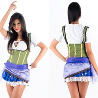 Wholesale Sexy Pirate Outfits - Charming New Sexy Pirates of the Caribbean Costume Short Sleeve Fashion Pirate Fancy Dress for Adult Women Halloween Outfits W208957B