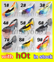 Wholesale Sun Glasses Mix - summer newest style Only SUN glasses 9 colors sunglasses men Bicycle Glass NICE sports sunglasses Dazzle colour glasses A+++ free shipping