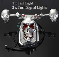 Wholesale Motorcycle Skull Signal Lights - Wholesale-Skull Motorcycle Turn Signal Rear Brake Tail Light License Plate Lamp For Moto Bike free shipping