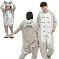 Wholesale kids kigurumi - Totoro Kigurumi Pajamas Animal Suits Cosplay Halloween Costume Adult and children Garment Cartoon Jumpsuits Unisex Animal Sleepwear