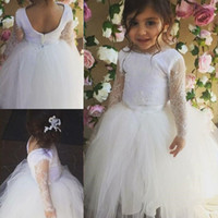 beyaz kız güzellik yarışması elbiseleri toptan satış-Büyüleyici Vintage Beyaz Uzun Dantel Kollu Çiçek Kız Elbise Vestidos De Navidad Para Ninas Kızlar Güzellik Yarışması Elbiseler