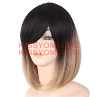 Wholesale Girls Bob Wigs - Cosplay Wig Short Bob Hair Wigs Side Bang Wig for Black Ombre Light Brown Colorful Women Synthetic Wig