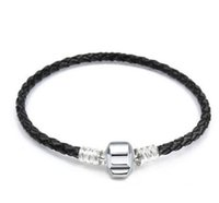 Wholesale genuine leather bars online - 16 cm Crown Logo Fine Jewelry Woven Genuine Leather Bracelet Silver Clasp Bead Fits Pandora Charms Bracelet DIY Marking Women