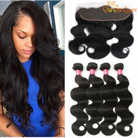 Wholesale Human Body Ears - 8a Brazilian Body Wave Human Hair With 4x13 Lace Frontal Closure Ear to Ear Lace Frontal With Bundles Brazilian virgin hair Body Wave