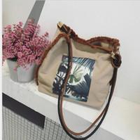 Wholesale Vintage Beach Bags - Women Bag Canvas Shoulder Bags Vintage printing Clutch Handbag Female Shopping Bag Travel Summer Beach Bag KKA3166