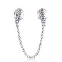 Wholesale Animal Connections - LOVE CONNECTION SAFETY CHAIN 100% 925 Sterling Silver Bead Fit Pandora Fashion Jewelry DIY Charm Brand