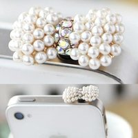 Wholesale Ear Pluggy - Wholesale-Sweet Pearl Heart Earphone Dust Plug Sweetheart Mobile Phone Smartphone Plug Ear Cap Rhinestone Pluggy XMHM229