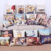 Wholesale pillow people - Pillow Cover Hot Spot Printing Cotton and Linen Pillowcase Cartoon Movies Cute Little Yellow People Pillow Case Cushion Cover Home Decor