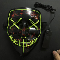 Wholesale masquerade masks led lights - Hade Made EL Wire Masquerade Masks Horror Grimace Bloody LED Light Face Mask For Halloween Party Supplies High Quality 24 8yd BB
