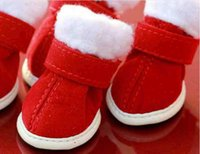 Wholesale Winter Dog Boots Large - 2016 High quality red Christmas Warm Cozy Pet Dog Boots pink ,coffee dog snow boots Puppy Shoes For Small Dog free shipping