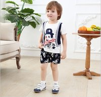 Wholesale Two Piece False Vest - 2016 Baby Boys Clothing Sets Children Cartoon Chaplin False Two-Piece Short Sleeve T-shirt+Camouflage Shorts 2pcs Kids Outfits Boy Suit