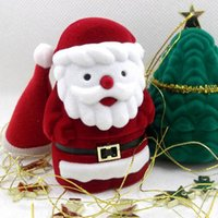 Wholesale Modern Designs Jewelry - Santa Claus Design Ring Earring Ear Stud Corduroy Earbob Box Red Case Container Holder Jewelry Box Christmas Gift Box ZA5078