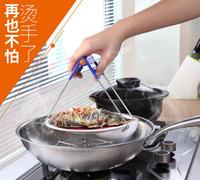 nehmen schüssel großhandel-Multifunktionaler Edelstahlschüsselclip genommen gegen heißes Tellerschüsselklammerhebevorrichtung-Plattenordner kreatives Küchenwerkzeug