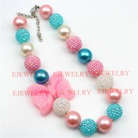 Wholesale Rhinestone Bowknot Necklace - fashion jewelry pink bowknot pendant blue and white pearl&rhinestone beads chunky girl bubblegum kids Necklace