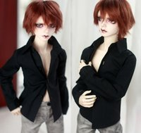 """Wholesale Dolls Clothes Bjd - Black Bussiness Shirt Outfits For 1 4 17"""" Male BJD DOLL MSD AOD DD DOLL Use G&W"""