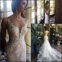 silver white pearl 2018 - Gorgeous Mermaid Wedding Dresses 2017 Sheer Crew Neck with Embroidery Beads Vestido De Novia by Lioness with Detachable Train Bridal Gowns