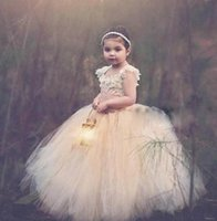 Wholesale Pink Wonderful Ball Gowns - Wonderful Design Flower Girl Dresses For Weddings Vintage Special Occasion Ball Lace Appliques Puffy Champagne Tulle Communion Dresses 2017
