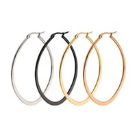 Wholesale Wholesale Heart Hoops - Hot Sale Ellipse Shape Hoop Earrings For Women Trendy Style Stainless Steel Big Circle Earring For Engagement Party