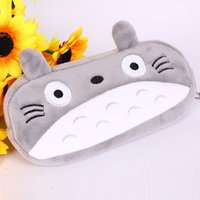 Wholesale cute animal pencil cases - cute my neighbor totoyo Grey Totoro Pencil Case Box Cosmetic Bag Pouch-large plush pencil box 20*10cm
