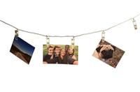 obras de arte de navidad al por mayor-Clips cálidas luces blanco / RGB Luz de Navidad para colgar cuadros Notas ilustraciones clips 5M 20 LED luz de la secuencia de fotos USB / con pilas LED
