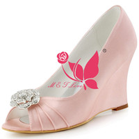 Wholesale Cheap Pink Wedges - Brand New Cheap Shoes Satin Wedges Bridal Beads Shoes Peep Toe Wedding & Party Shoes WS0114 Customise Size 33 to 43.