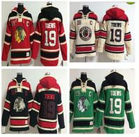 moletons hockey hoodies venda por atacado-Qualidade superior Blackhawks Velho Tempo Hockey Jerseys 19 Jonathan Toews Moletom Com Capuz Pulôveres Inverno Jaqueta Ordem Da Mistura