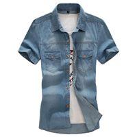 Wholesale Denim Shirt Mens - Wholesale-Denim shirts men Casual Mens fashion 2016 summer big size L-6XL 7XL 8XL short sleeves Solid man's shirt