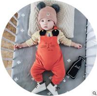 Wholesale Cat Overalls - Newborn cartoon suspender pants baby girls boys cute cat ears fleece overalls winter Infant toddler kids leisure suspender pants R1099