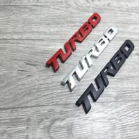 turbos de enfoque al por mayor-3D Etiqueta engomada del emblema del coche TURBO METAL GRILL Insignia trasera del coche del tronco para Audi BMW Ford focus asiento VW skoda Peugeot DS Renault Hyundai
