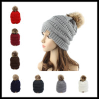 Wholesale Running Cable - Newest CC Winter Thendy Warm Hats Label Fur Poms Beanie Women Men Knitted Cable Skull Caps