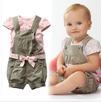 Wholesale Short Overalls For Baby Girls - Retail 2016 Baby Girls Summer Suits Girls Cotton Clothing Sets For 0-2 Yrs Baby Floral t-shirt + Overalls + Belt Free Shipping