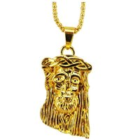 Barato Colar De Corrente De Ouro Grande 24k-Bling Big 24K Gold Plated Jesus Piece Necklace Hip Pop Jesus Pendant + 75 Chain Free Shipping 2016 WomanMen Jóias 12PCS / LOT