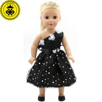 Wholesale Toys Doll Girl Sexy - American Girl Dolls Clothing Black Sexy Dresses Doll Accessories Elegant Dress Doll Clothes of 18 Inch Doll Flower Dress MG-101