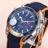 Wholesale Chronometer Quartz - New Mens Chronograph Japan Quartz OS 20 Watch Men Blue Dial Master 600m Co Axial Watches Men VK Sport Date Chronometer Time 007 Wristwatches