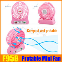 F95B Portable Mini USB ventilateur rechargeable à pile LED lampe pour intérieur Outdoor Kids Table 18650 batterie coloré paquet de vente au détail 30pcs