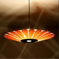 Wholesale Asian Kitchen - Southeast Asian simple leather led pendant lamp creative style wooden lighting yellow sunflower shape E27 bulb light fixture