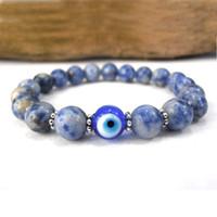 Wholesale SN0577 Jasper Evil Eye bracelet Good luck Eye Charm bracelet Blue and white stone bracelet For Mens