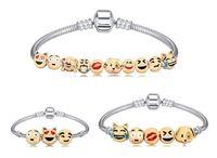 Wholesale Chain Models Gold - Christmas Gift 3-10 Beads Emoji Charms Bracelet Newest Fashion Emoji Bracelet Strands Smile 18K Gold Plate Alloy Bracelets 2 Model