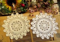 Wholesale Round Dining Table Pads - Wholesale- 30CM HOT Lace cotton table place mat pad cloth crocheted placemat cup pot mug holder glass coaster round doilies dining kitchen