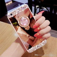 Wholesale Handmade Bling Phone Cases - Luxury Handmade Bling Diamond Crystal Holder Case With Stand Kickstand Mirror Phone Case For iPhone 5S 6 6S 7 Plus Samsung S6 S7 edge